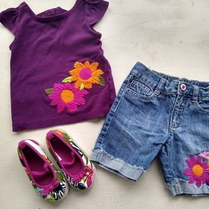 Size 3 Gymboree summer outfit with sneakers